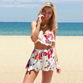 SE28 Sexy 2 Pieces Sets Floral Print Sexy Women Playsuit Jumpsuits Rompers Lace Ruffles Pom Pom Beach Wear Shorts Tank Tops New