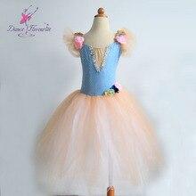 Потрясающая романтическая юбка-пачка для выступлений, беллетная балетная пачка бледно-голубого цвета с цветочным декором, детское сценическое балетное платье-пачка