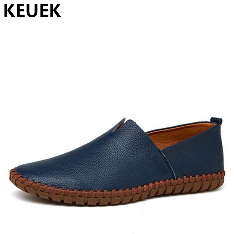 Genuine Leather Men Loafers Fashion Handmade Driving shoes Moccasins Soft Cow Leather Men Flats Slip On Hollow out Boat shoe 01B new arrival high genuine leather comfortable casual shoes men cow suede loafers shoes soft breathable men flats driving shoes