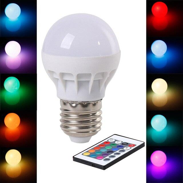 2 stks/partij) RGB LED Lamp E27 3 W Draadloze Led verlichting AC85 ...