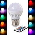 RGB LEVOU Lâmpada E27 3 W AC85-265V CONDUZIU a Lâmpada Sem Fio LEVOU Luzes de Iluminação RGB com Controle Remoto 16 Cores
