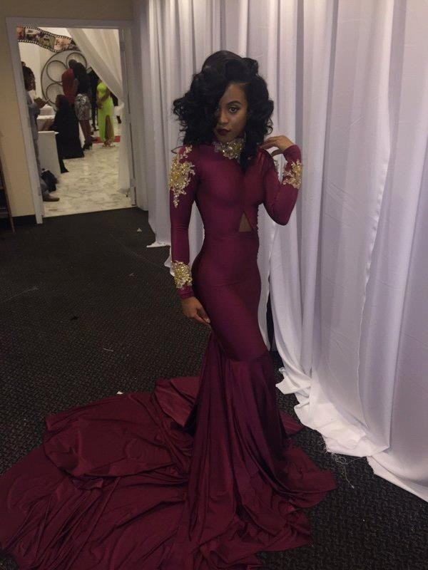Burgundy New South African long sleeve Mermaid Prom Dresses 2017 Sexy High-neck Gold Appliques evening Party Reception Dress