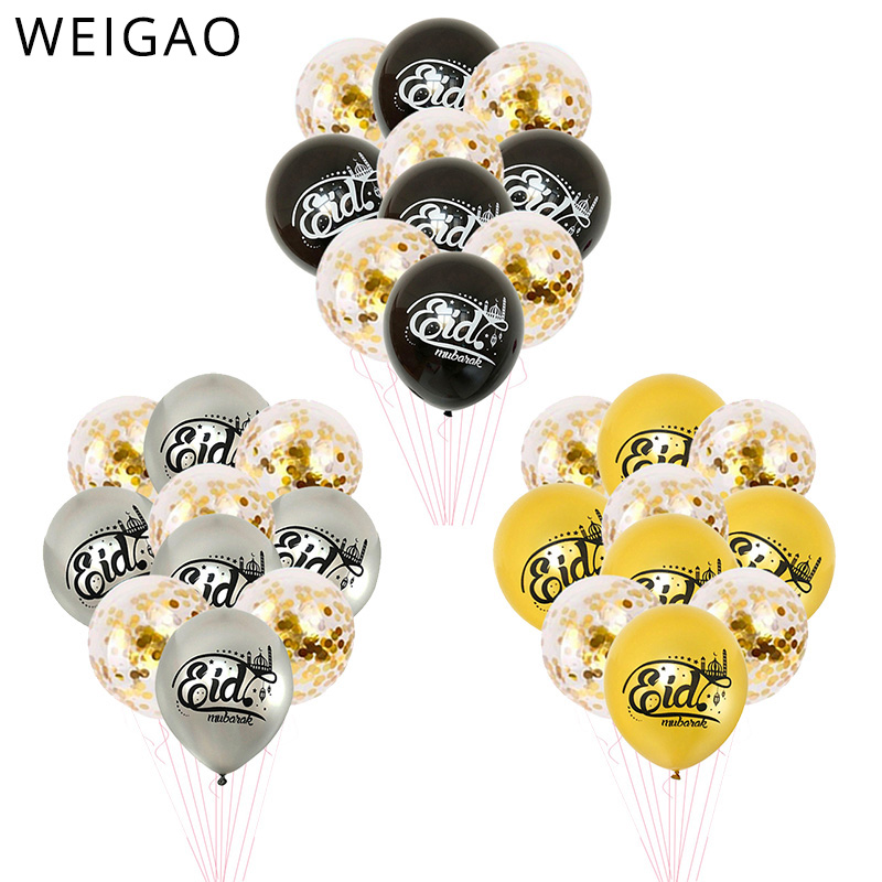 2019 Ramadan Decoration Gold Latex Balloons Confetti Balloon For Eid Mubarak Hajj Ramadan Party Decor Muslim Event Party Favors