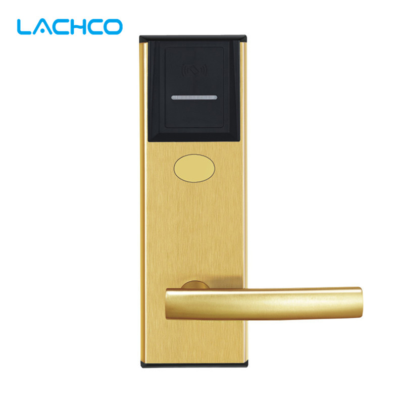 LACHCO Intelligent Electronic RFID Card Door Lock Latch with Deadbolt for Hotel Home Apartment Room Satin Gold L16015SG electronic rfid card door lock with key electric lock for home hotel apartment office smart entry lk1008ebg