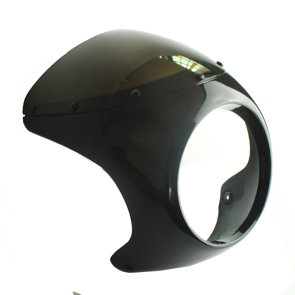Motorcycle 7 Gloss Black FOR Cafe Racer Headlight Fairing Screen Windshield