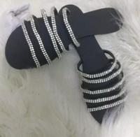2017 Summer Newest Bling Bling Crystal Embellished Flat Sandal Open Toe Cutouts Woman Slippers High Quality