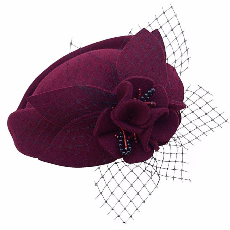 Burgundy Women Fascinator Hat Wool Pillbox Hat Formal Dress Flower Veil Hat  for Cocktail Party Cheltenham Ladies Vintage Gatsby-in Women s Hair  Accessories ... 4ce8e701254