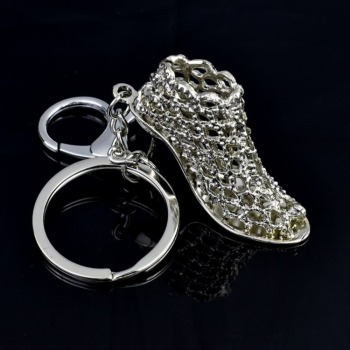 Personality Lady Crystal High Heels Metal Key Rings Car Advertising Key Rings Chain Pendant image