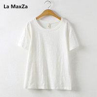 La MaxZa 2019 Summer tshirt for women short sleeve bamboo cotton Tees ladies Tops white clothes t shirt femme feminist tshirts