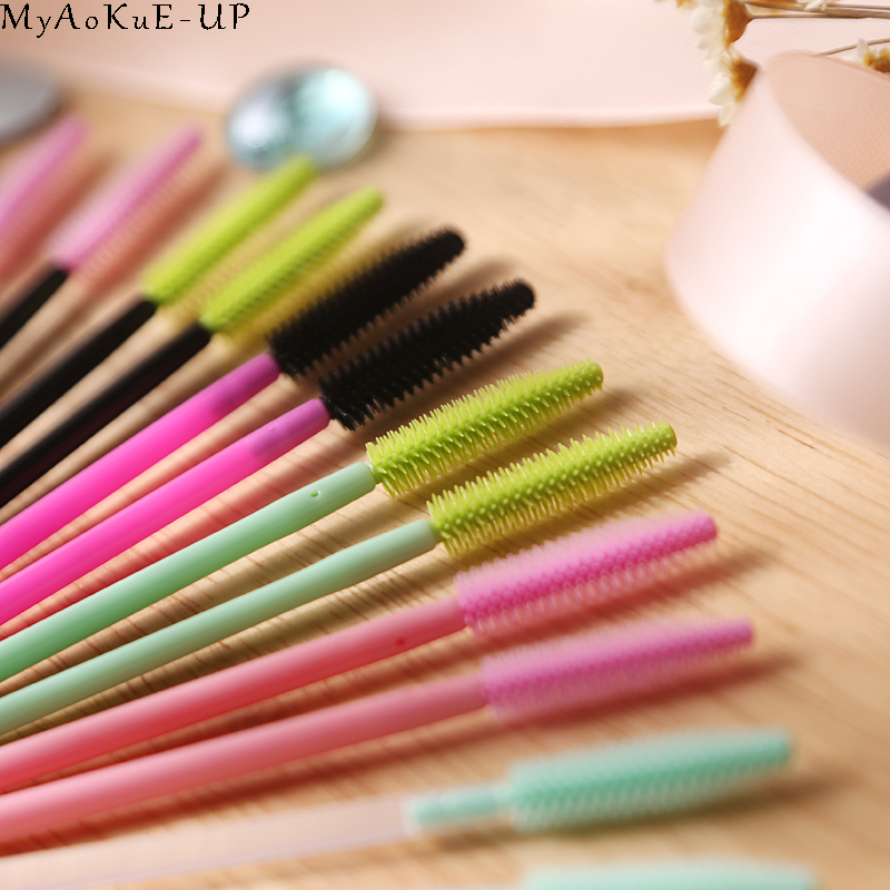 Image 2 - 1000 pcs/lot Wholesale Silicone Eyelashes Brushes 21 colors  Disposable Makeup Brushes Eyelash Extension Mascara Wand Applicator-in Eye Shadow Applicator from Beauty & Health
