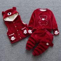 BibiCola Baby boys clothing set unisex baby girls clothing set coat + sweater + pants winter warn suit kid children baby set