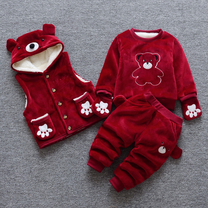 BibiCola Baby boys clothing set unisex baby girls clothing set coat + sweater + pants winter warn suit kid children baby set