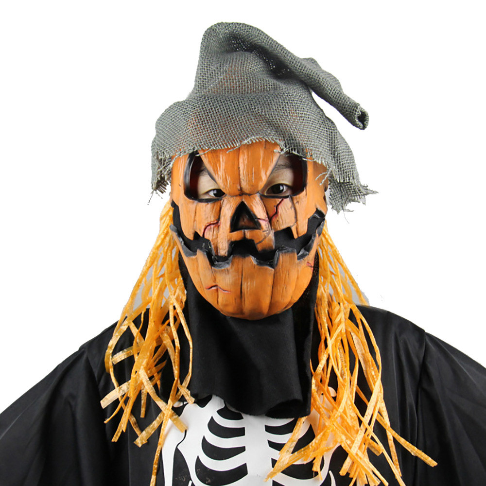 halloween mask pumpkin scarecrow mask creepy latex realistic crazy