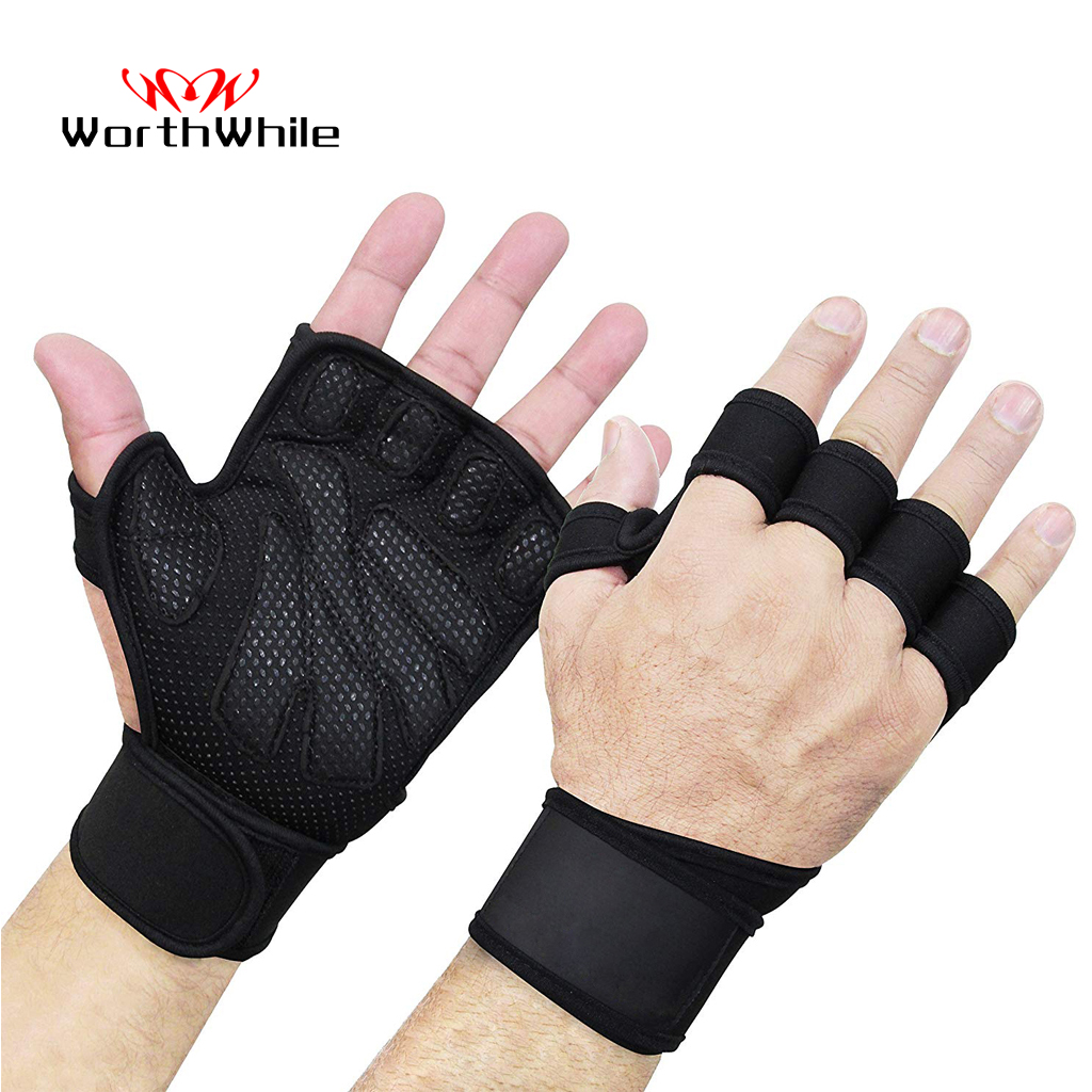 WorthWhile Half Finger Gym Fitness Gloves Hand Palm Protector With Wrist Wrap Support Crossfit Workout Power Weight Lifting