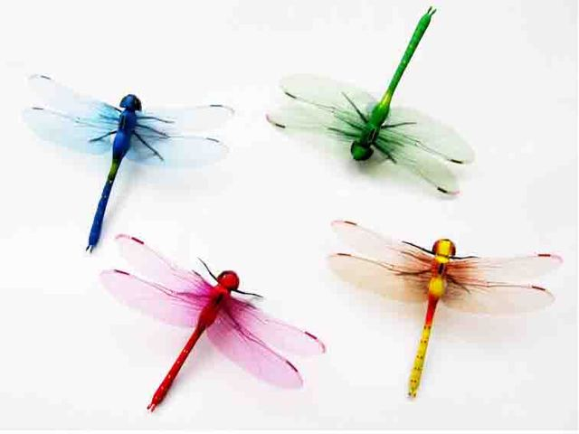 Hot Wholesale Free Shipping 20pcs 3d Mixed Artificial Dragonfly For