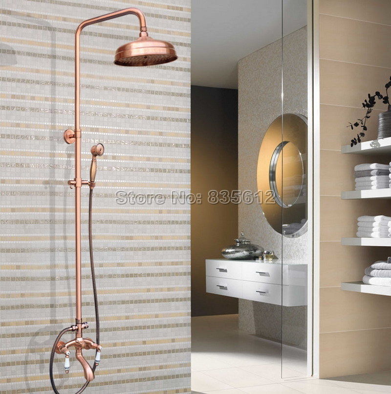 Antique Red Copper Rainfall Shower Set Faucet + Tub Mixer Tap + Handheld Shower Wall Mounted 8 Rain Showerhead Wrg531