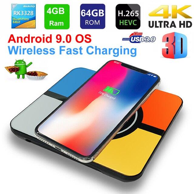 S10 плюс Android 9,0 Smart ТВ коробка Беспроводной быстрой зарядки RK3328 Quad core 4 Гб 64 GB Wi-Fi 4 K H.265 USB3.0 Smart ТВ телеприставке