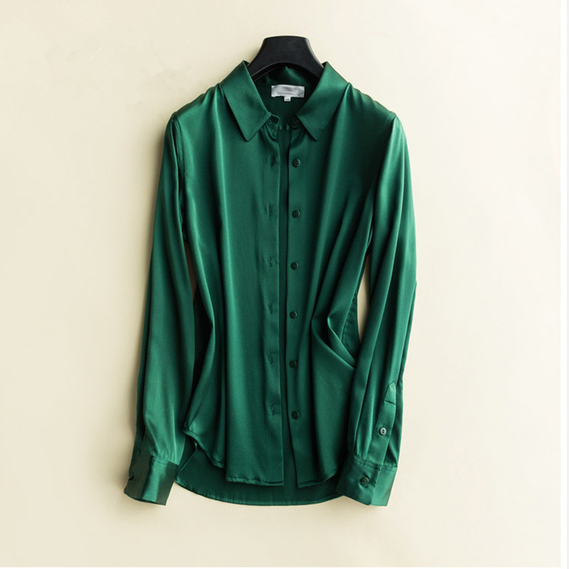 2019 Spring Satin Silk Turn down Collar Long Sleeves OL Ladies Shirt Women Solid Comfort Elegant