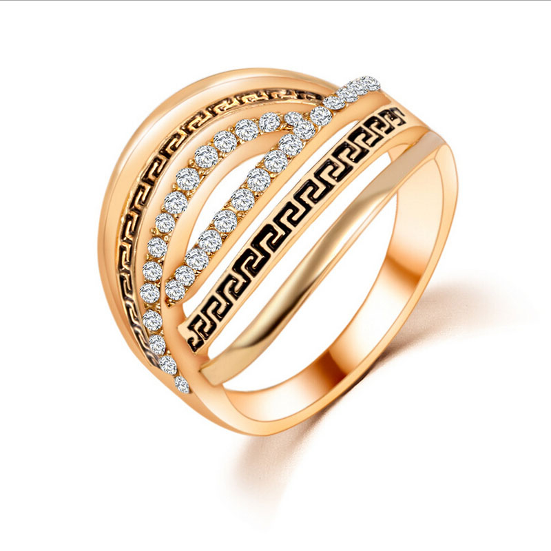 hot new fashion beauty retro personalized wedding romantic crystal hollow various styles ring geometric golden - Beautiful Wedding Ring