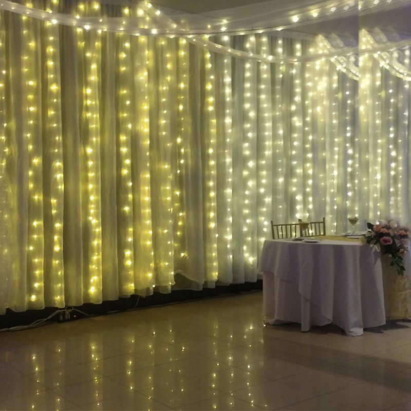 4.5m*3m 300LEDs / 5m*0.4m -0.6m 96 LED String Lamps Curtain Icicle Light for Christmas Festival Holiday With 220v EU Plug