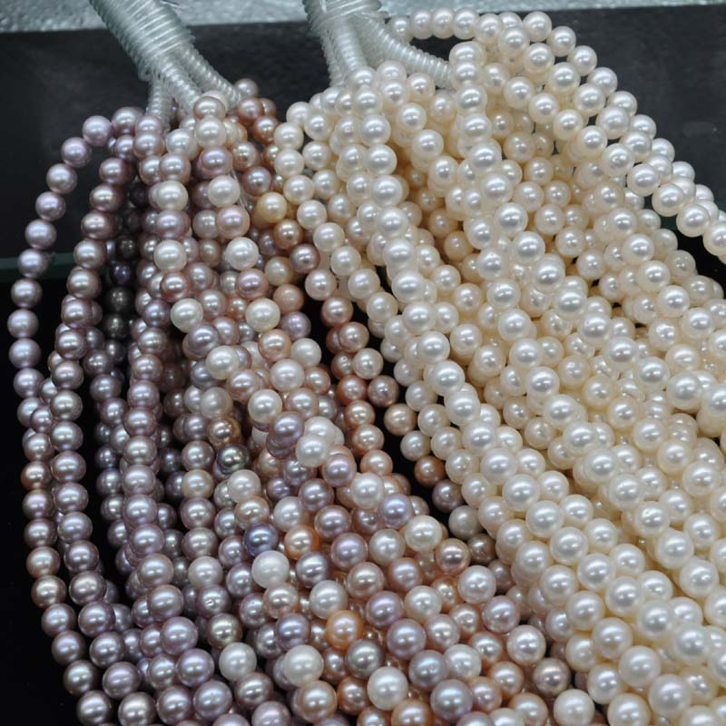 AAA wholesale 8mm near round white purple freshwater pearl string 40cm