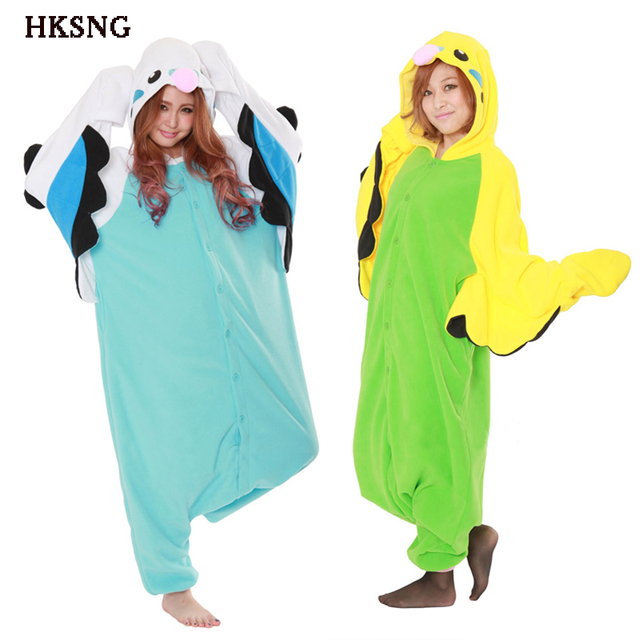HKSNG Winter Warm Adult Unisex Blue Green Budgie Lovers Pajamas Cartoon  Parrot Kigurumi Onesies Costume For Party cbce4aa083694