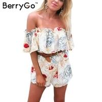 BerryGo Sexy Off Shoulder Floral Print Jumpsuit Romper Casual Ruffle Summer Beach Short Playsuit Elegant Boho
