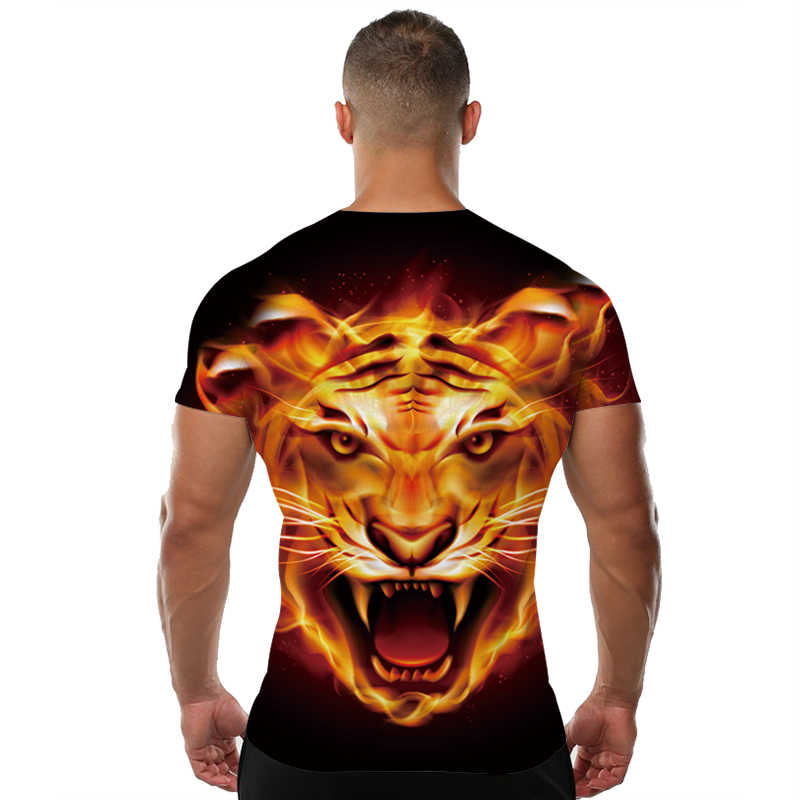 Пламени рубашка Тигр футболка с рисунком животного 3d футболка с принтом Прохладный Тонкий Для мужчин Рубашка с короткими рукавами Для мужчин s брендовая одежда 2017 высокое качество
