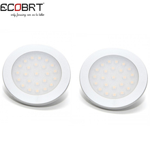 ECOBRT smd3528 aluminum 2W Round 12v Led Cabinet Puck lights in Showcase Closet Furniture as led Accent Spotlight lamps 2pcs/lot