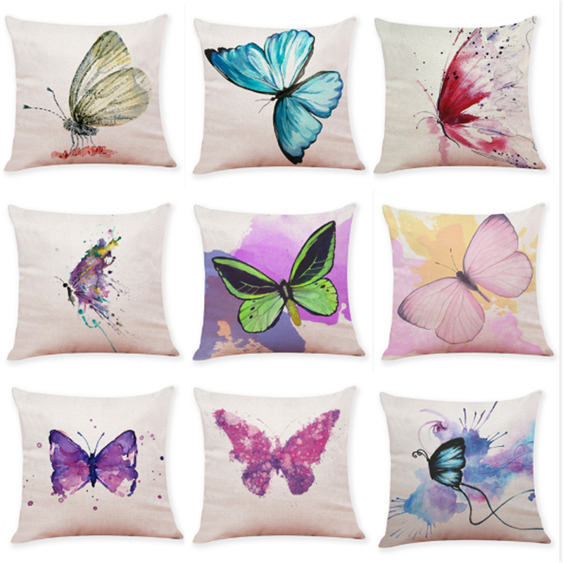 Colorful butterfly home decoration sofa pillowcase Car cushion pillowcase Living room decoration bedroom cushion case 45x45cm