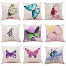 Colorful butterfly home decoration sofa pillowcase Car cushion pillowcase Living room decoration bedroom cushion case 45x45cm unicorn cartoon car living room sofa bedroom cushion pillow case
