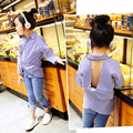 2017 new spring girl Halter striped shirt Korean girls long sleeved shirt tide free shipping