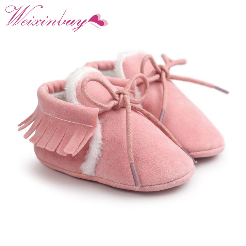 Baby Boy Girl Moccasins Soft Moccs Shoes Bebe Fringe Soft Soled Non-slip Footwear Crib Shoes New PU Suede Shoes