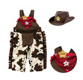 New Style 2015 Baby Boys Cowboy Romper Clothes 3pcs Hat Scarf With Romper Infant One Piece Jumpsuit  Toddler Clothing Baby Suits