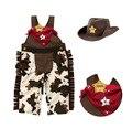 Novo Estilo 2015 Dos Meninos Do Bebê Roupas Romper 3 pcs Chapéu de Cowboy cachecol Com Romper Infantil One Piece Jumpsuit da Roupa Do Bebê da Criança ternos