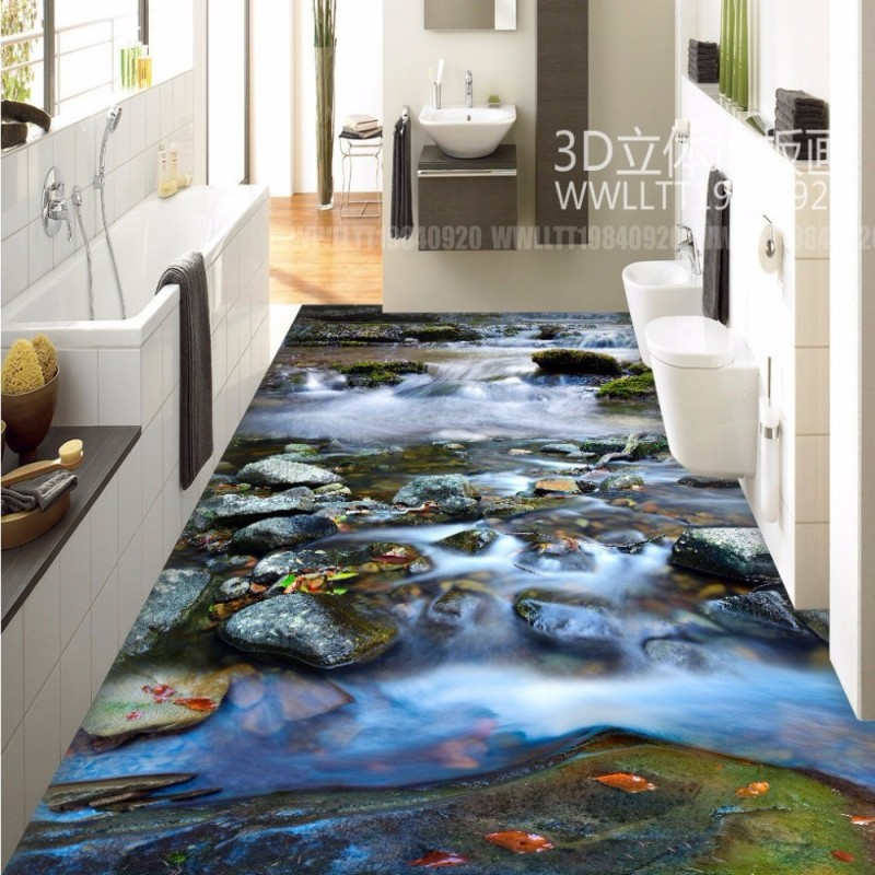 Free shipping river stone waterfalls 3d floor tiles wear for Living room 3d tiles