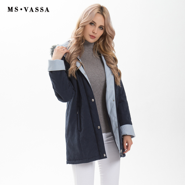 MS VASSA Women Parkas 2017 New Winter thick Jackets hood with fake fur classic contrast moss plus size 4XL 6XL outerwear