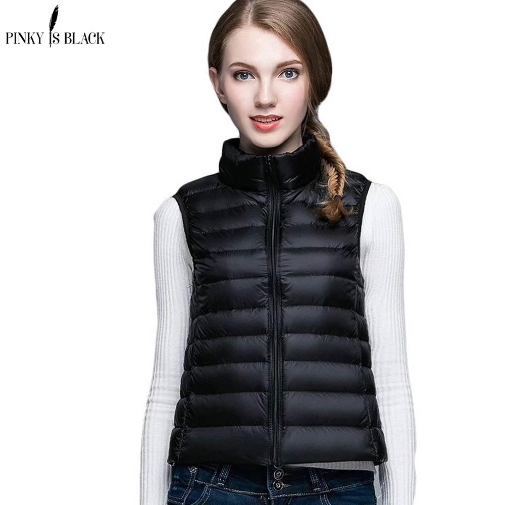 PinkyIsblack 2019 New Women 90% White Duck Down Vest Women Ultra Light Duck Down Vest Jacket Autumn Winter Stand Collar Female