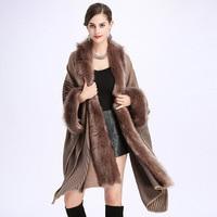 SWONCO Black Cloak Cape Coat Women Winter Warm Fur Poncho Female 2019 New Medieval Belt Capes Long Sleeve Poncho Hombre Invierno