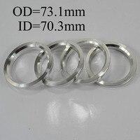4 pcs Centro de Roda Hub Centric Anéis Spigot Adaptadores Furo Spacer Junta Conjunto de 70.3mm a 73.1mm OD alumínio Prata