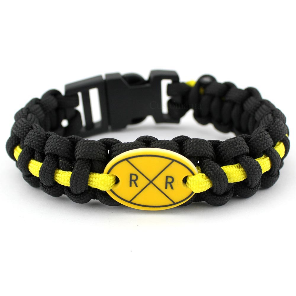 Railway Railroad Crossing Sign Black Yellow 25 18mm Glass Cabochon Outdoor Survival Paracord Charm Bracelets Men Women Gift in Charm Bracelets from Jewelry Accessories