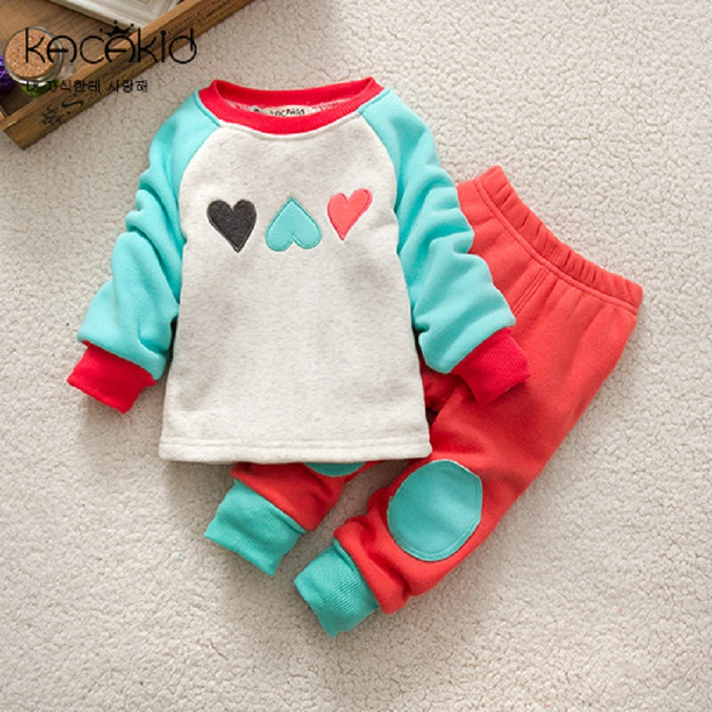 Kacakid Winter baby boy girl home underwear suit sets kids cartoon warm Pajamas Suit Sleepwear thick suit clothes Sets