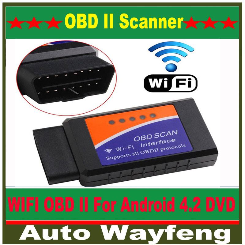Factory Price Wireless ELM327 WiFi OBD 2 For Android 4.2 Car DVD WiFi ELM327 OBD II Scanner Free Shipping WF