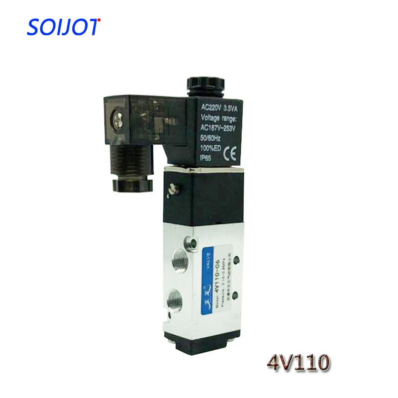 1PC 4V110-06 Solenoid Valve 5 Way 2 Position Pneumatic Air 1/8 BSPT DC 24V DC 12V AC 110V AC220V1PC 4V110-06 Solenoid Valve 5 Way 2 Position Pneumatic Air 1/8 BSPT DC 24V DC 12V AC 110V AC220V