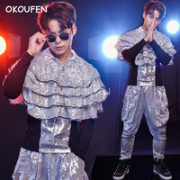 Modern Dance Costume Personality Sequins Windy God Harem Pants Nightclub Bar Male Singer Drum Jazz Dance clothing set
