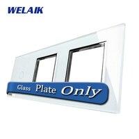 WELAIK חלקי DIY מגע מתג זכוכית לוח רק של אור קיר Switch לבן זכוכית קריסטל לוח A39188W חור מרובע/B1