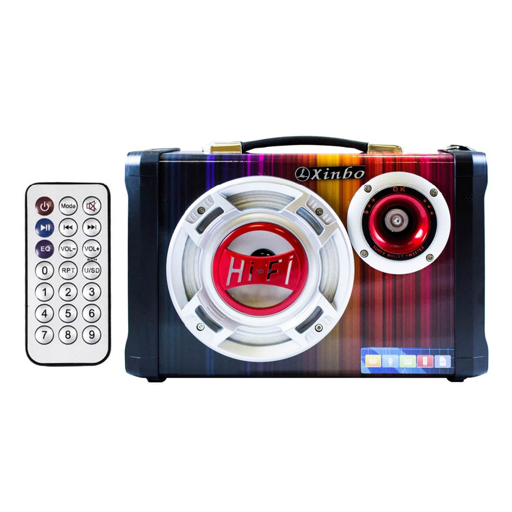 Speaker Karaoke Bluetooth Portable Con MIC Input Radio HIFI LED Light for Party