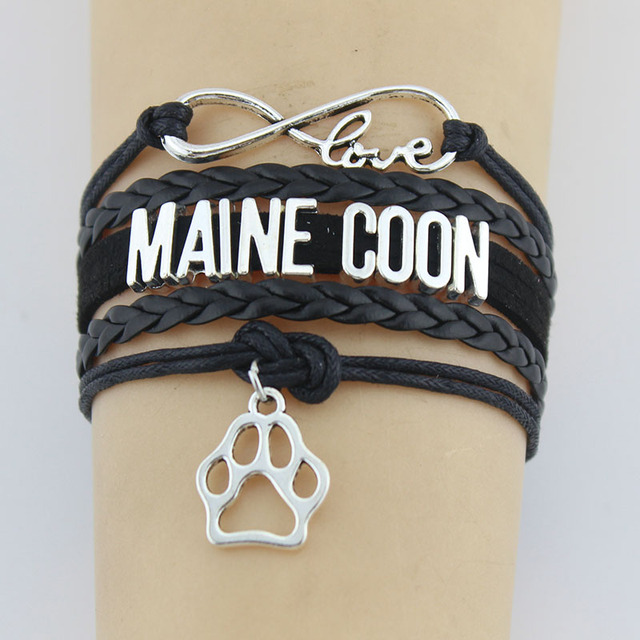 10 Pieces Lot Infinity Love Maine Bracelets Paw Charm Handmade Rope Leather