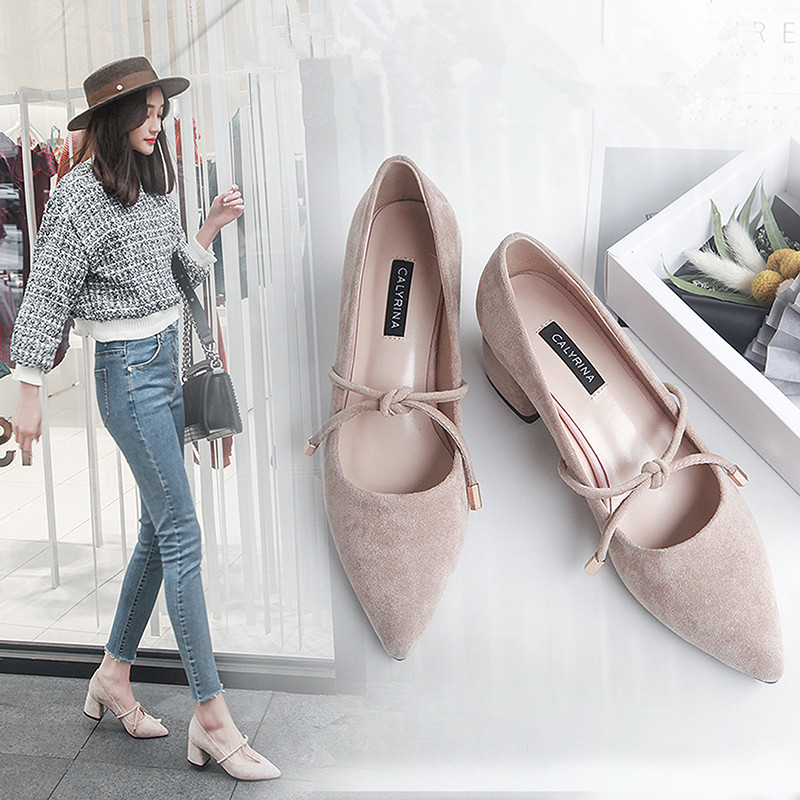 2018 women pointed toe pumps korean version thick heel shallow mouth single shoes bow-tied decoration student  high heel shoes