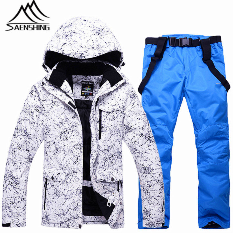 SAENSHING New Ski Suit Men Waterproof Thicken Snow Snowboard Set Breathable Windproof Snowboarding Suits Male Skiing Clothing men ski brand snowboard costume skiing suit sets waterproof